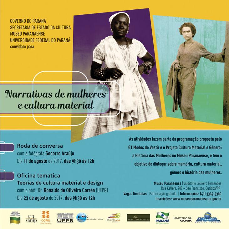 Banner do eveneto narrativas de mulheres e cultura material