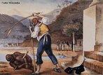 Pintura do artista francês Jean-Baptiste Debret (1768 - 1848), retratando um escravo sendo castigado por seu capataz. A violência foi uma das formas usadas para controlar os escravos. <br></br> Palavras-chave: relações de trabalho, poder, exploração do trabalho, escravo, violência, história da arte, pintura.