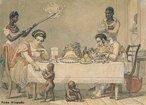 Pintura do artista francês Jean-Baptiste Debret (1768-1848), retratando a refeição de uma família abastada no Rio de Janeiro. Destaque para os escravos domésticos e para as crianças escravas ao pé da mesa.<br></br>  Palavras-chave: Rio de Janeiro, escravos domésticos, relações de trabalho, exploração, sociedade de classes.