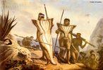 """Pintura do artista francês Jean-Baptiste Debret (1768-1848) de 1834, retratando uma família de índios botocudos. O termo """"botocudos"""" foi dado pelos portugueses a vários grupos indígenas de várias regiões, o termo provém dos botoques (acessórios feitos de madeira) labiais que os nativos usavam. <br></br> Palavras-chave: relações culturais, nativos, botocudos, índios, história da arte, pintura, Debret."""