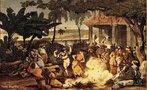 Johann Moritz Rugendas veio para o Brasil em 1821, integrando a Expedição Langsdorff como desenhista e documentarista. Em 1824, viajou para Minas Gerais e registrou paisagens, cenas de costumes e o trabalho escravo. Na volta, abandonou a expedição. Passou por Mato Grosso, Bahia e Espírito Santo, retornou ao Rio de Janeiro e seguiu para a Europa. Em 1845, retornou ao Rio de Janeiro e pintou retratos de D. Pedro II, da Imperatriz Tereza Cristina e do Príncipe D. Afonso. No ano seguinte, partiu definitivamente para a Europa. Por motivos financeiros cedeu sua coleção de desenhos e aquarelas ao Rei Ludwig I, da Baviera, em troca de uma pensão anual.<br></br>  Palavras-chave: relações culturais, arte, expedição, Brasil, paisagens, escravidão, retratos.