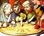 Charge sobra a chamada partilha da África. Em 1884 e 1885 as nações europeias e o Japão se reuniram na Alemanha, na cidade de Berlim e decidiram sobre a divisão dos territórios africanos. <br><br/> Palavras-chave: relações culturais, relações de poder, Imperialismo, África, capitalismo monopolista.