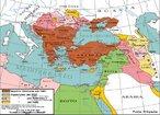 Mapa do Império Otomano. Sua capital era a cidade de Constantinopla, tomada ao Império Bizantino em 1453. Única potência muçulmana a desafiar o crescente poderio da Europa Ocidental entre os séculos XV e XIX. Declinou marcadamente ao longo do século XIX e terminou por ser dissolvido após sua derrota na Primeira Guerra Mundial.  <br><br/> Palavras-chave: território, relações de poder, islã, relações culturais, oriente.