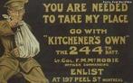 Cartaz de propaganda de guerra canadense da Primeira Guerra Mundial.<br><br/> Palavras-chave: relações de produção, trabalho, poder, cultura, Canadá, Primeira Guerra Mundial, propaganda, recrutamento.