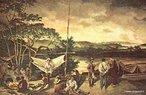 Gravura de autor desconhecido do século XVIII. Representa o acampamento de um grupo de bandeirantes, que tiveram grande importância para a expansão do território brasileiro e também foram responsáveis pela morte e captura de milhares de indígenas. <br><br/> Palavras-chave: bandeirantes, acampamento, indígenas, território.