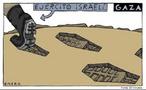 Charge sobre o massacre na Faixa de Gaza. <br><br/> Palavras-chave: relações culturais, relações de poder, guerra, conflitos étnico-religiosos.