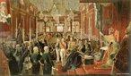 Obra de Jean-Baptiste Debret para representar o momento de coroação do imperador D. Pedro I. <br><br/> Palavras-chave: relações culturais, representação, D. Pedro I, independência, monarquia.