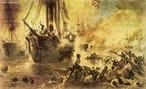 É um quadro monumental (8,2 metros de largura por 4,2 metros de altura) pintado em 1872 por Victor Meirelles (1832-1903). A obra retrata, de maneira dramática e heróica o episódio ocorrido em 11 de junho de 1865, durante a Guerra do Paraguai (1864-1870), quando se confrontaram as esquadras Paraguaia e Brasileira.<br><br/> Palavras-chave: relações de poder, Estado, Guerra do Paraguai, Batalha do Riachuelo, pintura, história da arte, Victor Meirelles.